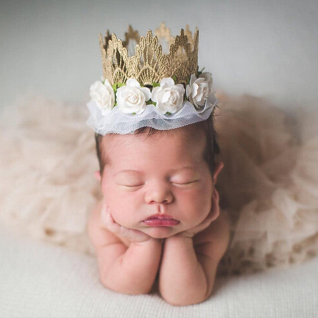 32f0ce81a40 Newborn Rose Flowers Gold Lace Crown Headband for Kids Hair Accessories  Birthday Gold Crown Kids Girls