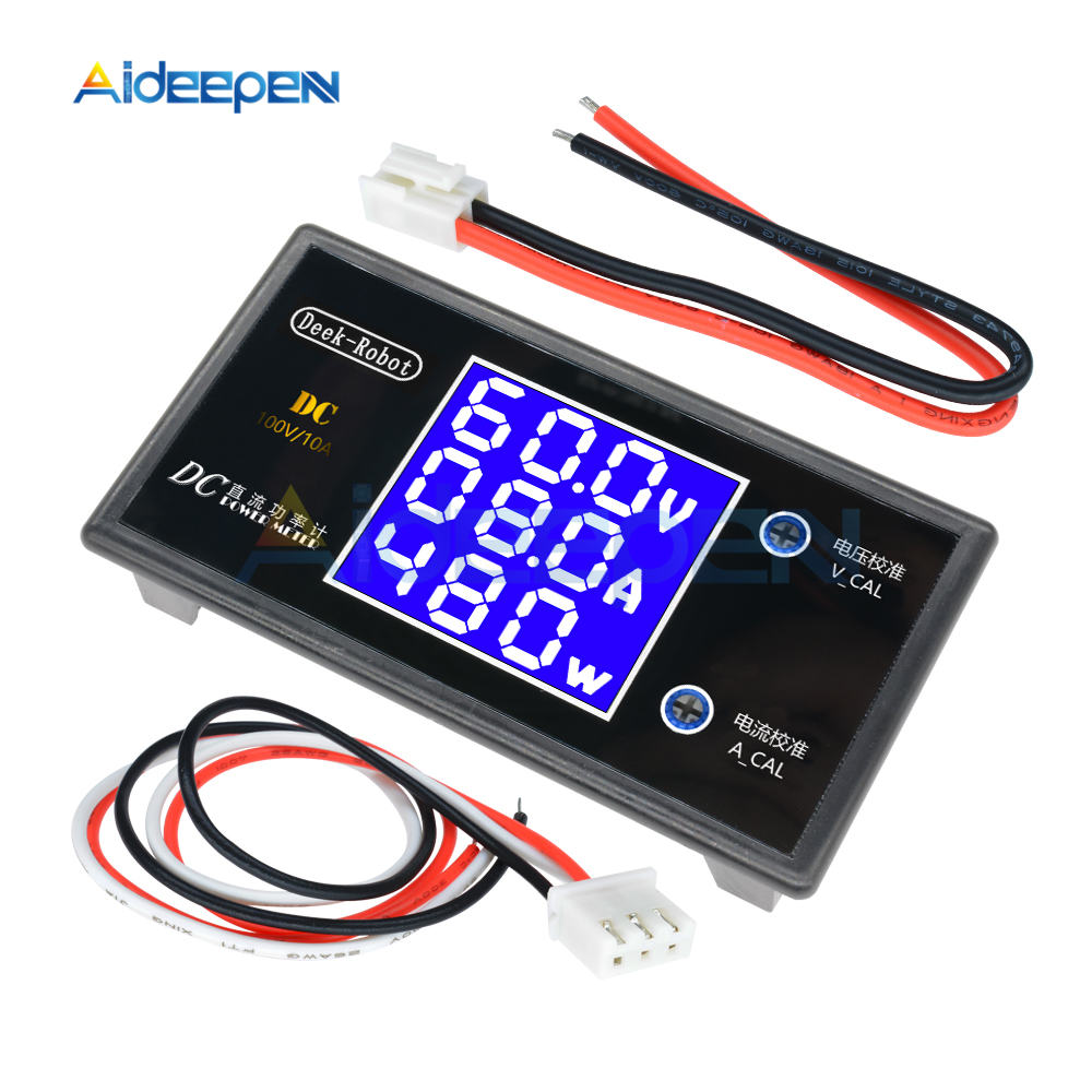 DC 0-100V 0-50V 5A 10A LCD Digital Voltmeter Ammeter Wattmeter Voltage Current Power Meter Volt Detector Tester 250W 1000W 9