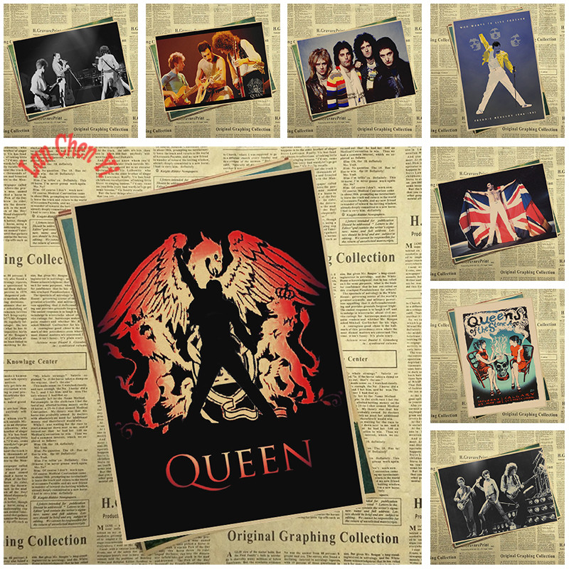 Queen Band Music Kraft Paper Poster Vintage High Quality Printing Drawing Core Decorative Painting