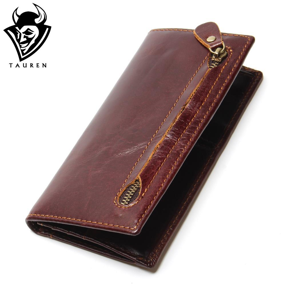 Genuine Leather Men's Wallet Newly Bifold RFID Blocking Wallet For Men Protection Credit Card Cowhide Zipper Long Purse lexeb cow leather wallet for men credit cards case rfid blocking short style zipper hasp id holders bifold coin purses black