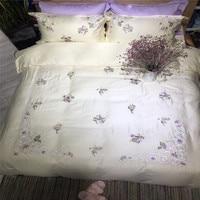 Purple Little Floral Flowers Queen King Size Egyptian Cotton Embroidery Technics Bedlinens Duvet Cover Sheet Pillow Cases