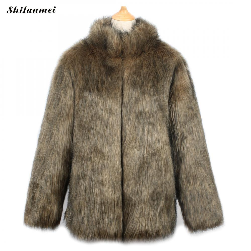 Plus Size XXXL Brown Fluffy Faux Fur Womens Fox Fur Jackets Fake Fur Coats Femme Winter Fur Collar Warm Coat Female Outerwear globe panther golden brown fur