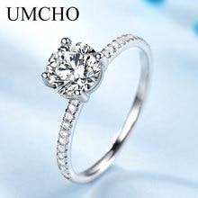 UMCHO Romantiska Runda Kubiska Zircon 925 Sterling Silver Ringar Bröllop Bands Charm Ringar För Kvinnor Förlovning Present Fina Smycken