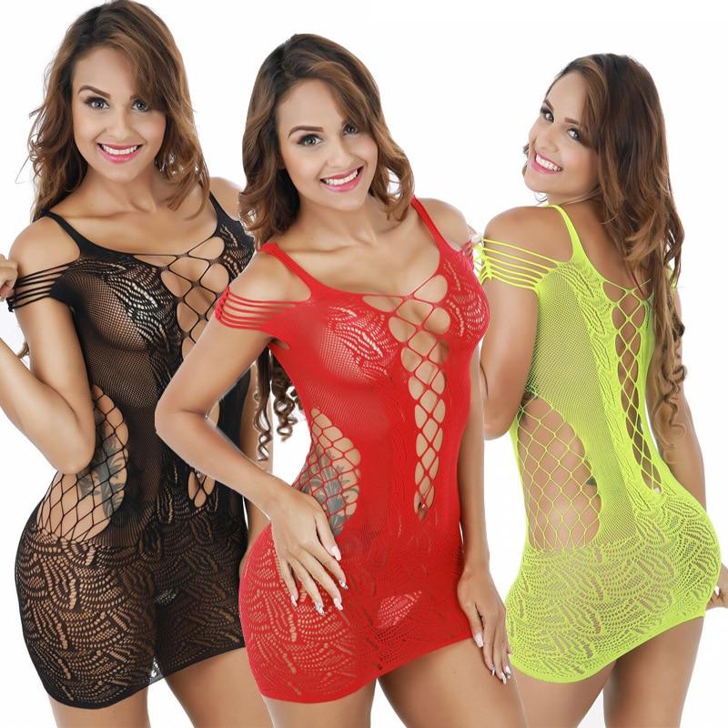 Plus Size Lingerie Hot Mesh Baby Doll Dress Erotic Langerie For Women Sex Costumes Fishnet Underwear Body Lingerie