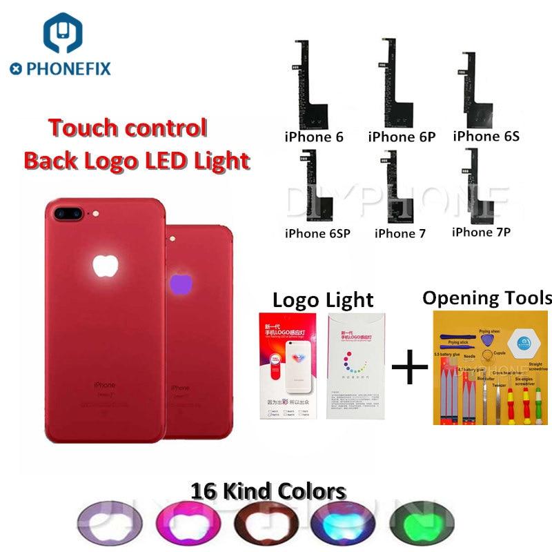 PHONEFIX 16 Colors Touch Control LED Logo Light For IPhone 6 6Plus 6S 6S Plus 7 7 Plus Glowing LED Logo Rainbow Light