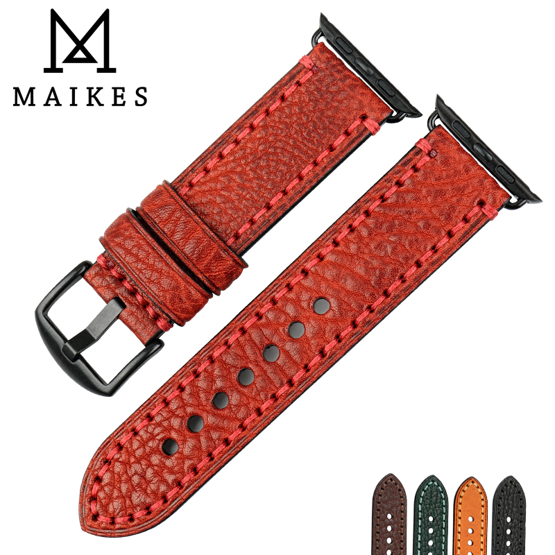 MAIKES Fashion Red Watchband Watch Bracelet For Apple Band 44mm 40mm 42mm 38mm Series 4 3 2 iWatch Leather Strap