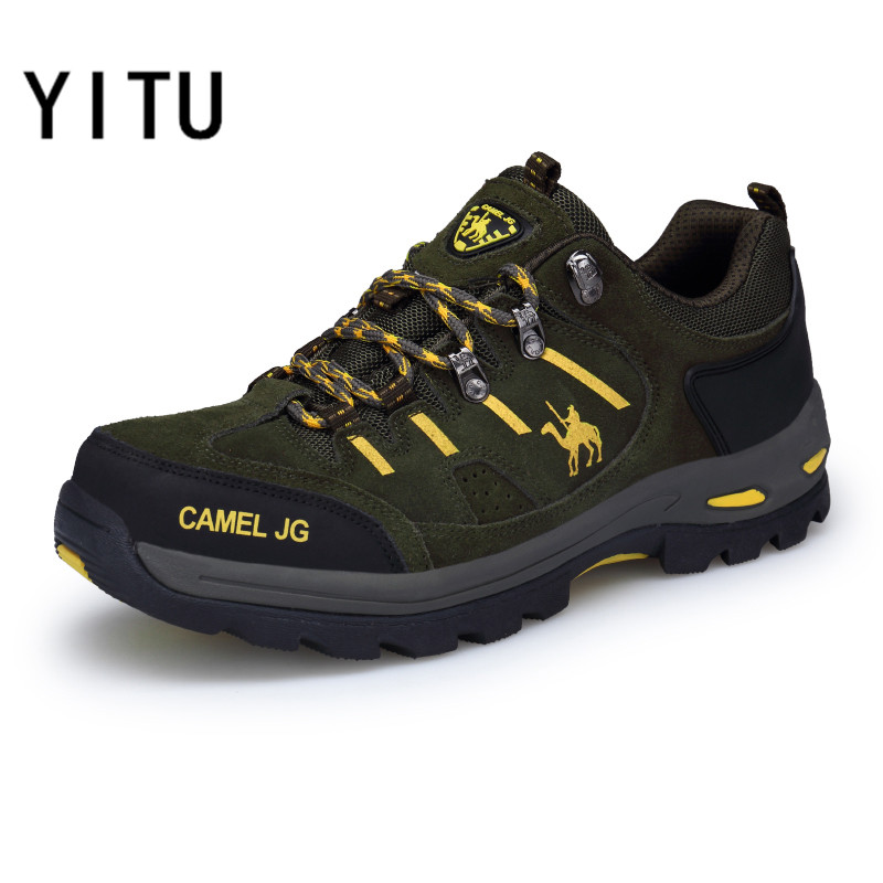 YITU Men's Hiking Shoes Spring Breathable Hiking Camel Shoes Mountain Climbing Sneakers Big Size Outdoor Trekking Boots Antiskid 2018 hiking boots 2017rax spring summer hiking shoes men breathable outdoor 3 8women antiskid walking shocking offroad climbing