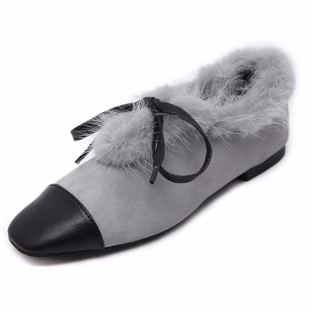 Black Gray Autumn Winter Genuine Real Mink Fur Trim Shoes Women Patchwork Suede Oxford Spell Color Casual Flats Moccasin Loafers