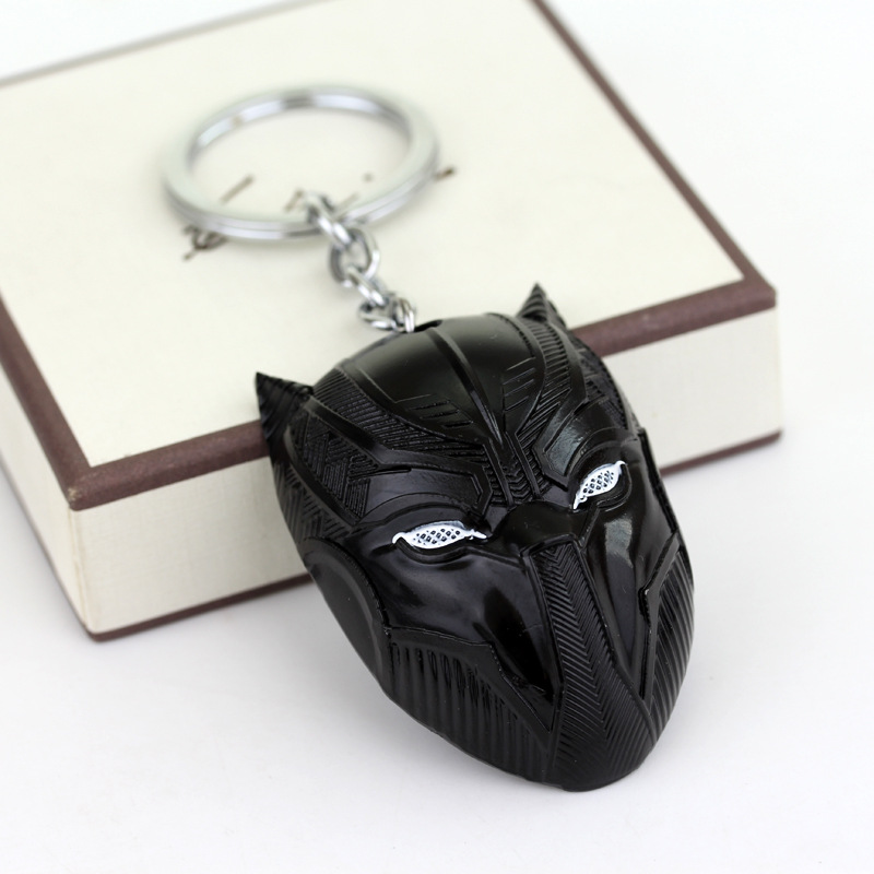 Marvel Comics The Avengers Black Panther Keychain Superhero Mask Captain America Civil War Llavero Metal Key Chain Pendant Toys image