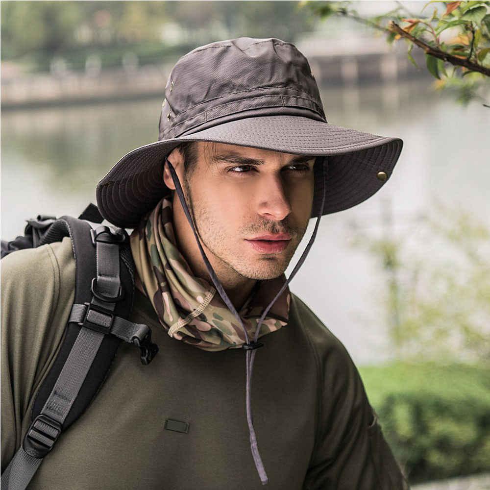 d190871cfe6b0 ... Bucket Hat Cap Fishing Hunting Men Sun Hat Fishermans Fashion Cowboy  Hat Solid Color