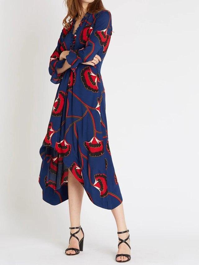 V Neck Ruffled Detail Flower Print Asymmetric Long Dress Gathring Waist 2019ss Women Dress