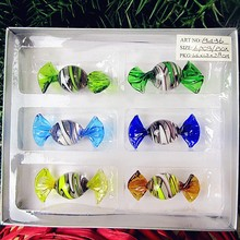 6pcs Custom antique hand blown Munuola wire wrapped stripe glass candy Christmas decoration presents ornaments sweets gift