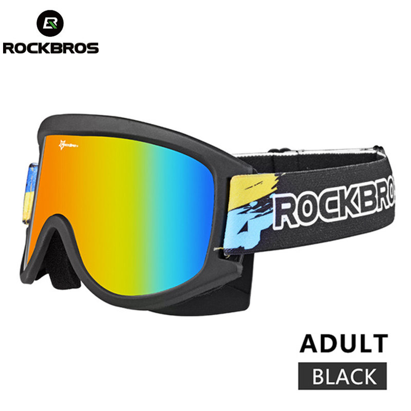 ROCKBROS Ski Goggles Double Lenes Anti-Fog Snowboard Glasses Eyewear TPU Frame Goggles Snowboarding For Child Boys UV400 Glasses