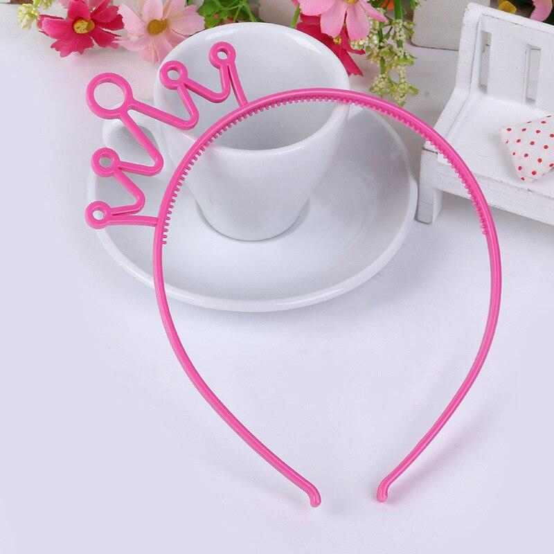 Пластиковая Корона повязка для волос Разноцветные заколки для волос для девочек детские диадемы повязка на голову вечерние ювелирные изделия аксессуары 12 шт./лот - Цвет: Rose