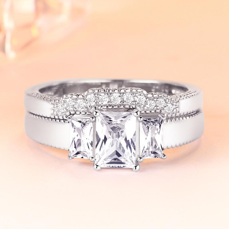TONGLiN 925 bagues de mariage en argent Sterling ensemble 2 en 1 bague pour femmes bague de fiançailles de mariée bijoux fins doigt