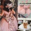 2-6 Лет Девочки Летом Свадебное Платье Принцессы Платье Девочка Платья С Бабочкой Лук Узел