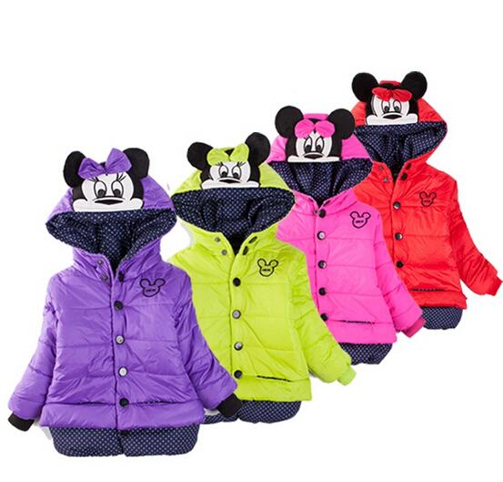 Natal das crianças meninas Casaco Minnie Meninas Do Bebê Casacos de inverno da menina quente Do Bebê Outerwear Crianças Grossas de Inverno jaqueta Com Capuz