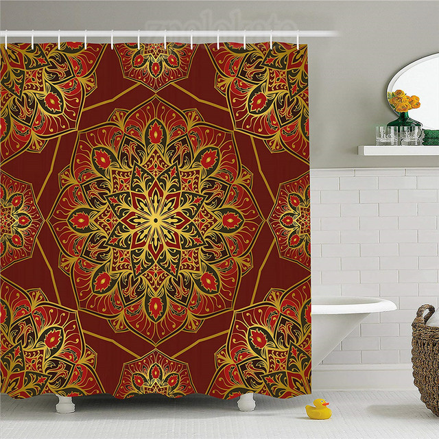 Maroon Shower Curtain Rich Colorful Ornament Symbol Of Cosmos In