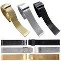 Venda quente 22 MM Malha Banda Strap Pulseira de Pulso de Luxo Em Aço Inoxidável Duplo Fecho Watch Band Strap Sliver/Ouro/preto # N