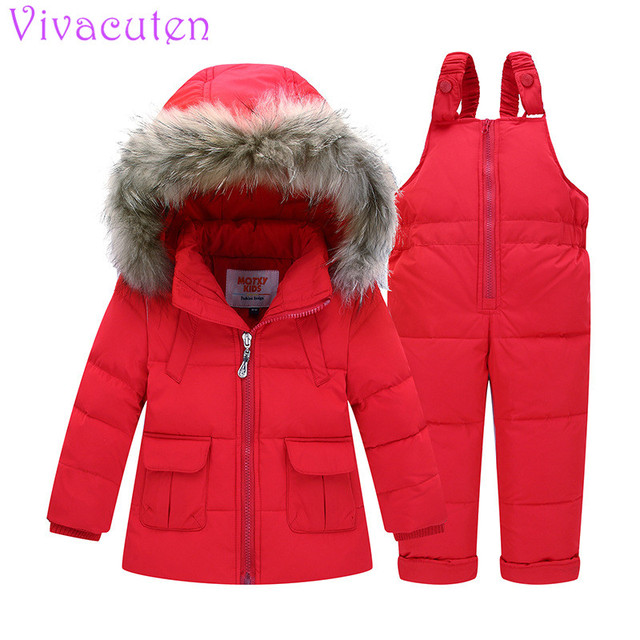 Girls coat Children Fur Collar Hoodie + Elastic Strap Trousers White Duck Down Child Warm And Windproof Set Kids Outdoor Sets