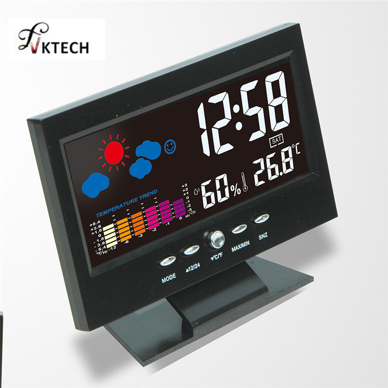 Colorful LCD Calendar Digital Thermometer Hygrometer Weather Station Alarm Clock Voice Control Backlight Temperature Tester digital lcd thermometer projection weather station temperature calendar display dual alarm clock usb charging function