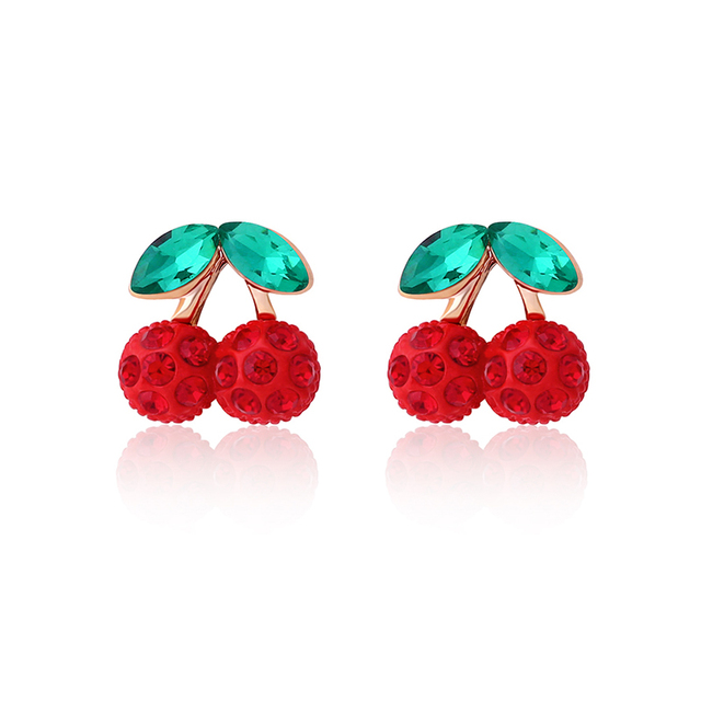 Flola Korean Cute Cherry Earrings Clips Zircon Red Clip Without Piercing No Ear Hole Fashion