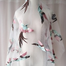 1pc 130*100cm embroidery bird african lace fabric for Wedding dresses DIY white black french tulle fabrics