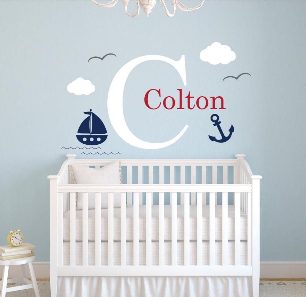 Custom Nautical Name Wall Decal Little Sailor Room Decor Baby Boys Bedroom Nursery Wall Decal Nautical Theme Vinyl Wallpaper A43