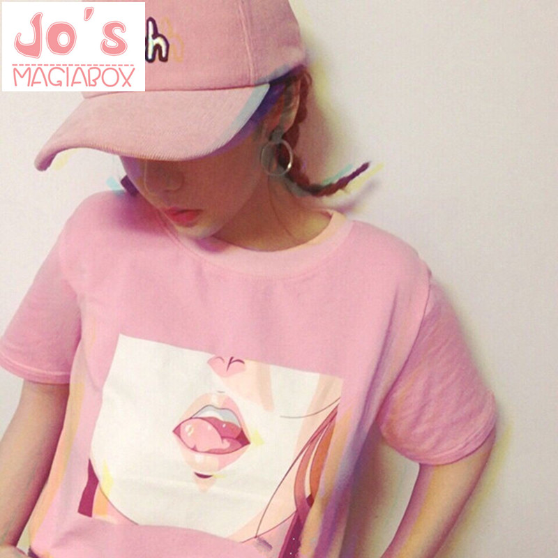 Tee Shirt Femme 2017 Lip Sexy TShirt Kawaii Korea Ulzzang Harajuku Printed Women Pink T-Shirts Casual Loose Short Sleeve Tops