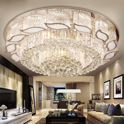 Remote Control Round Flush Mount Crystal Ceiling Lamp Led Bedroom Light  Decoration Home Lighting 100