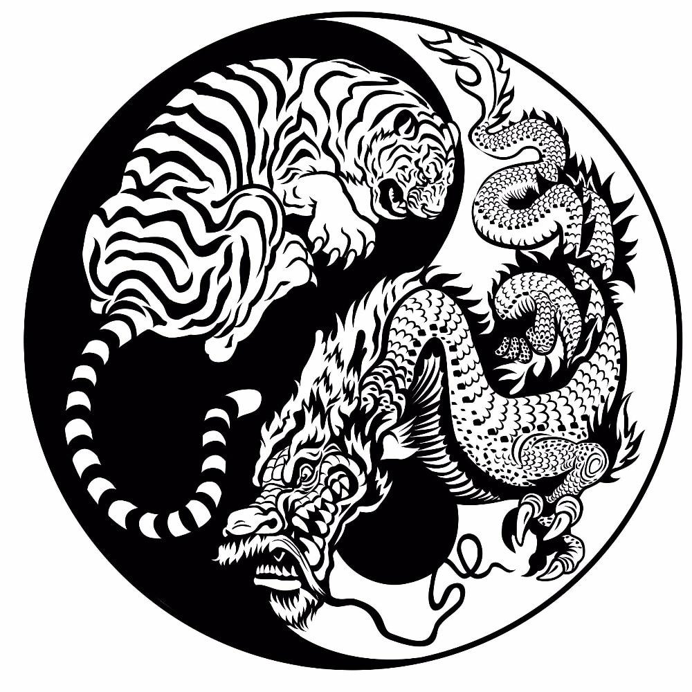 Wall Decals Hidden Dragon Crouching Tiger Vinyl Wall Sticker Asian Mythology Style Poster Home Decor Yin Yang Vinyl Art Ay1068 Wall Stickers Aliexpress