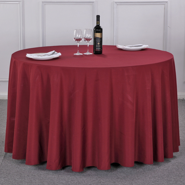 Hotel Solid Color Tablecloth For Wedding Restaurant Fabric Meeting European  Simple White Thick Round Cover For