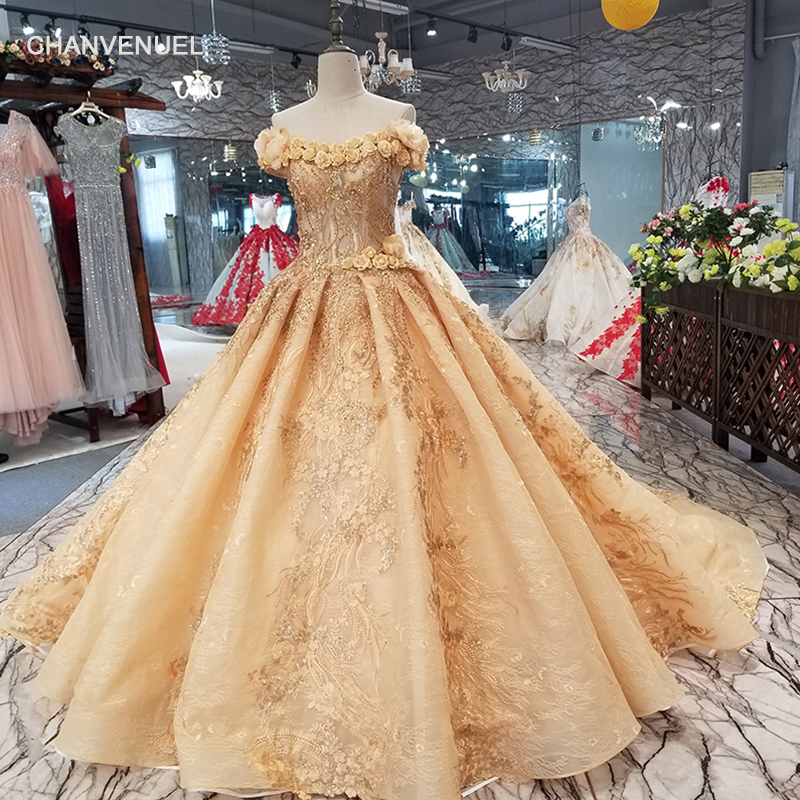 Ls94451 Lace Flowers Champagne Beauty Evening Dress V-neck Off Shoulder Lace Up Back Party Dress With Long Train Quick Shipping Discounts Price Weddings & Events