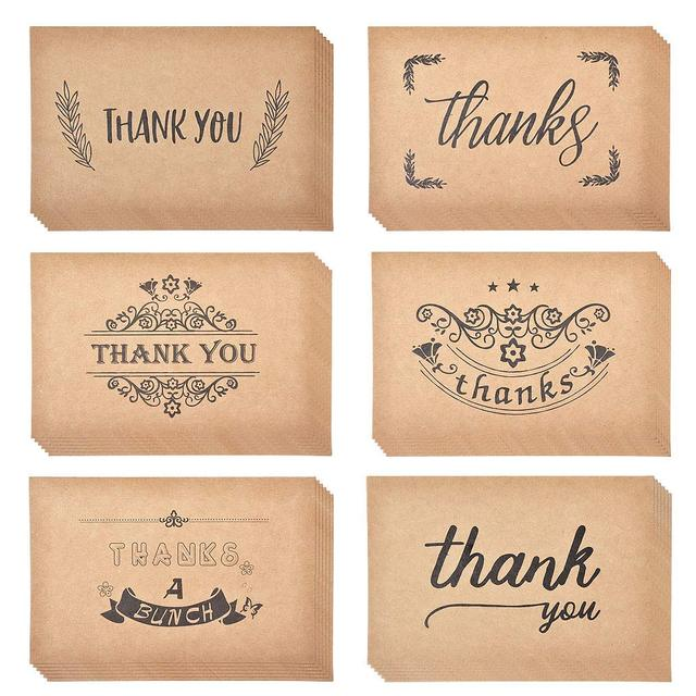 36pcs Thank You Cards Notes Kraft Paper Bulk U Greeting Card Set For Wedding Graduation Bridal Party Anniversary Birthday