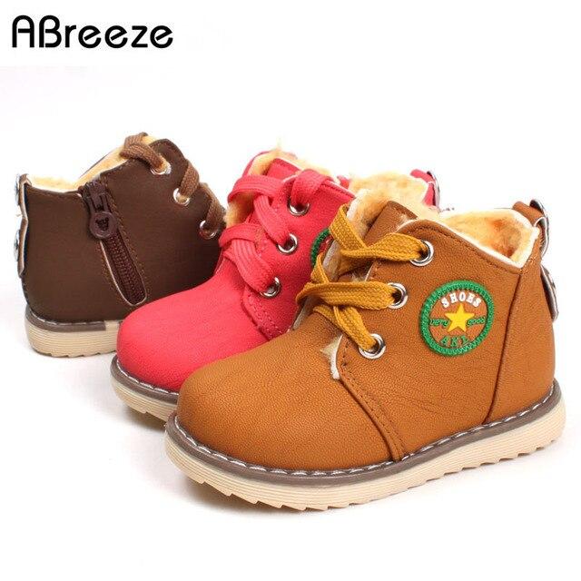 43166f29007cc Taille 21-30 Enfants chaussures filles garçons Mode automne cheville bottes  Chaud épaississement polaire hiver