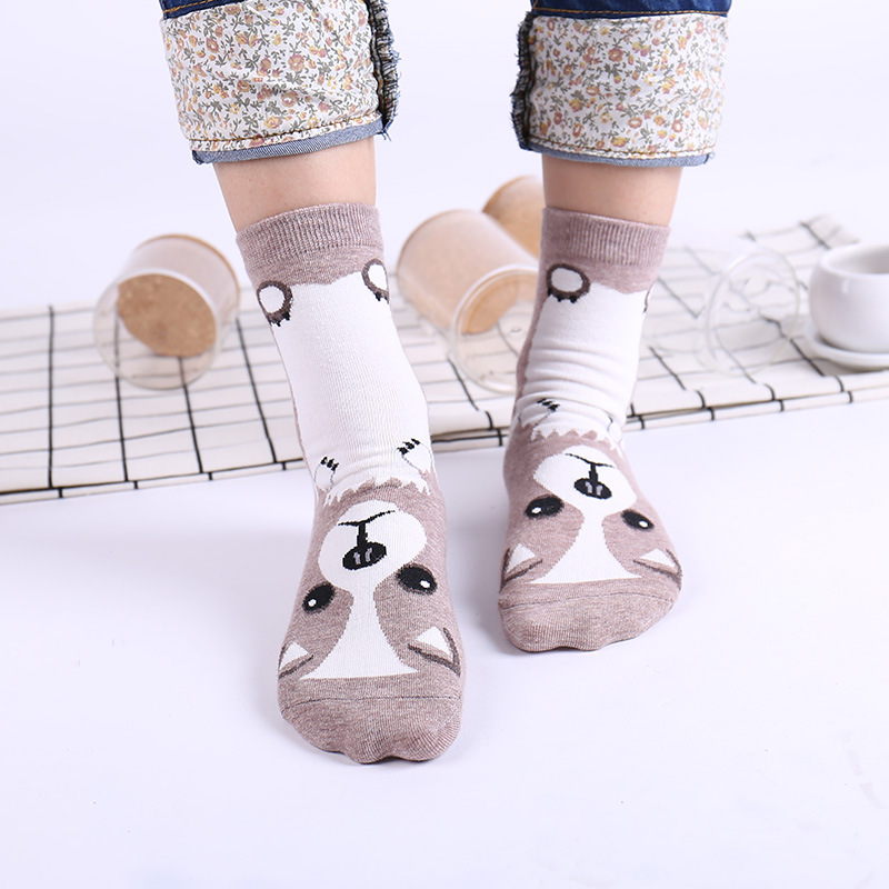 Humor 1 Paar Frauen Mode Hund Baumwolle Winter Mädchen Socken Niedlichen Cartoon Mops Bulldogge Socke Weibliche Tier Kurze Socken Corap Sox