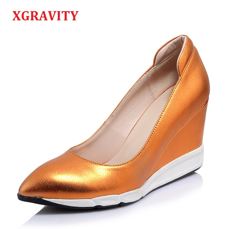 XGRAVITY 2018 New Fashion Genuine Leather Unique Lady High Heel Wedges Cow Leather Pointed Toe Woman High Heels Shoes Lady A042XGRAVITY 2018 New Fashion Genuine Leather Unique Lady High Heel Wedges Cow Leather Pointed Toe Woman High Heels Shoes Lady A042
