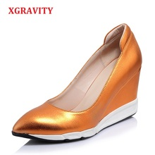 XGRAVITY 2018 New Fashion Genuine Leather Unique Lady High Heel Wedges Cow Pointed Toe Woman Heels Shoes A042