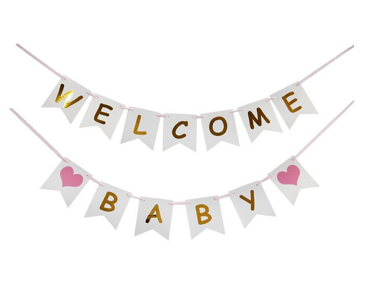 Welcome Baby Baby Shower Bunting Banner Garland Flag Backdrop Pink Blue For Baby Boy Baby Girl Gender Reveal Party Decorations Party Diy Decorations Aliexpress