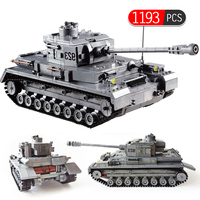 1193PCS City Police Military 923 Tank Model Germany Soldiers Building Blocks Kids Toys Compatible Army Technic Tank Blocks