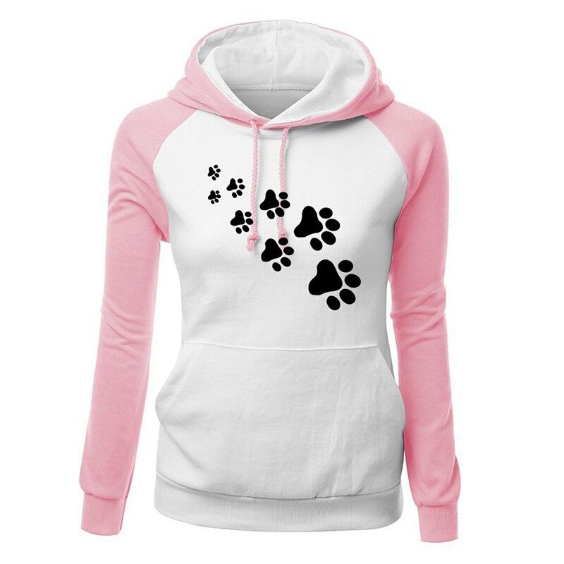 Herbst Winter Vogue Hoodies Frauen Casual Hund Footprint Druck Muster Frauen Kleidung Plus Größe manteau femme hiver Pullover