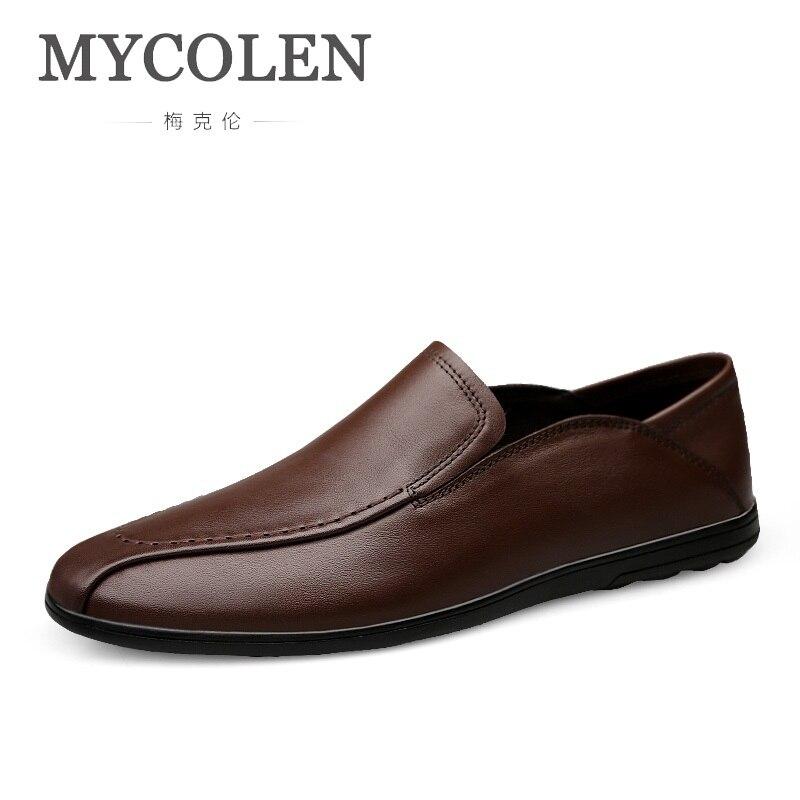 De Resbalón Mocasines En red Herren Cuero Schuhe Casuales Negro Hombre Brown Marca Los dark Brown Mycolen Lujo Hombres Pisos Zapatos 58q4FYw0