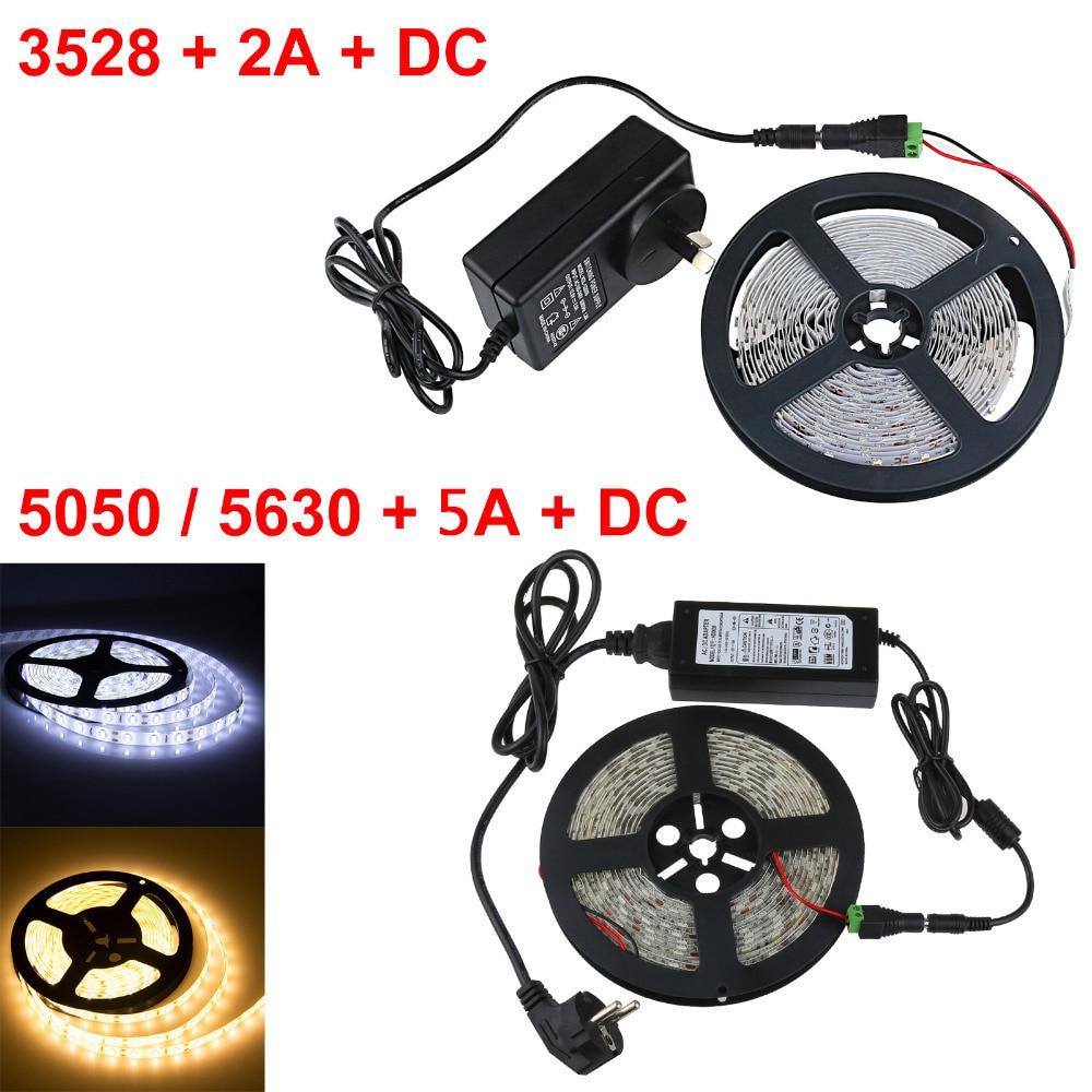 1 conjunto de led 12 v 300 leds 5 m quente/legal pixel branco led luz smd 3528 5050 5630 led strip luz + adaptador dc 12 v 2a/5a fonte de alimentação