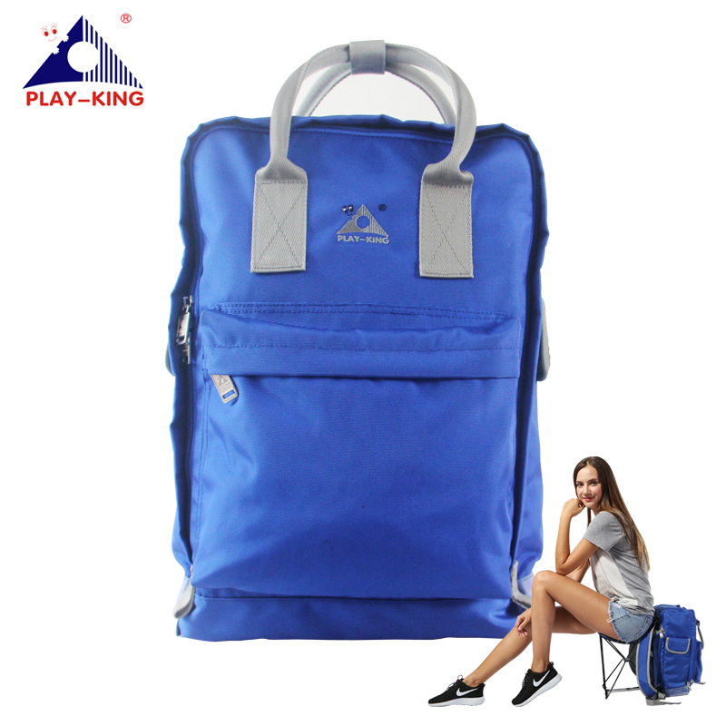 PLAYKING Outdoor Sport Fishing Backpack With Folding Chair Nylon Waterproof Women Bags For Hiking Camping Traveling Man outdoor traveling camping tripod folding stool chair foldable fishing chairs portable fishing mate fold metal chair