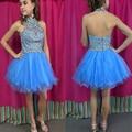 Curto Azul Vestidos de Formatura Sem Mangas Halter Mini Cocktail Vestidos Ocasião Especial Vestido de Festa vestido de formatura