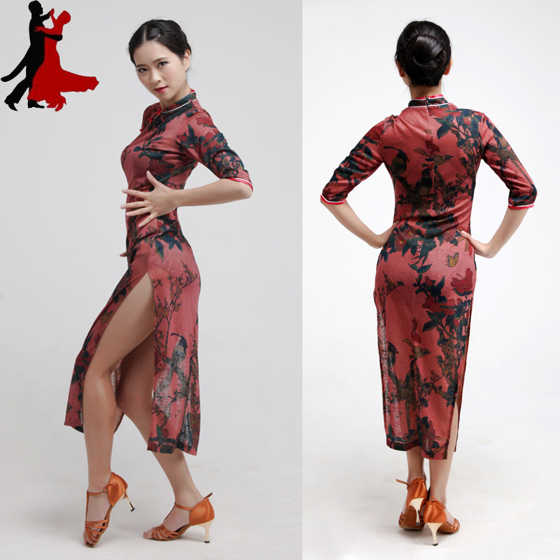 Chinese sexy style fashion high elastic print Latin dance dress practice clothes performance clothing freeshipping hot sale