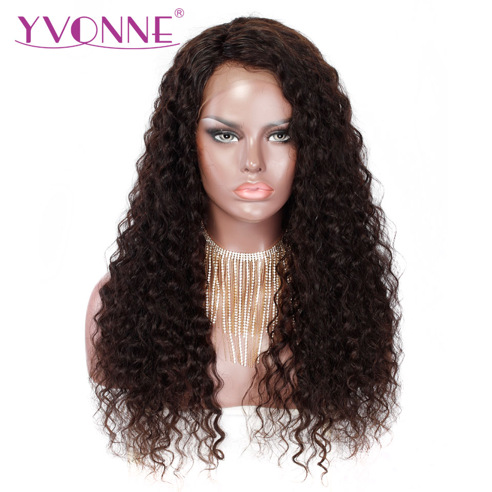 YVONNE Italian Curly Human Hair Wigs Virgin Brazilian Lace Front Wigs With Baby Hair Natural Color