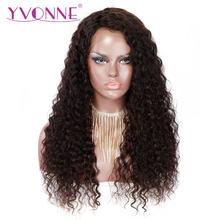 YVONNE Italian Curly Human Hair Wigs Virgin Brazilian Lace Front Wigs With Baby Hair Natural Color(China)