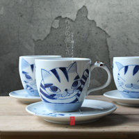 Designer Handmade Hand Painted Cute Cats Zakka ceramic cups saucers tea coffee cup with handgrip pigmented porcelain drinkware