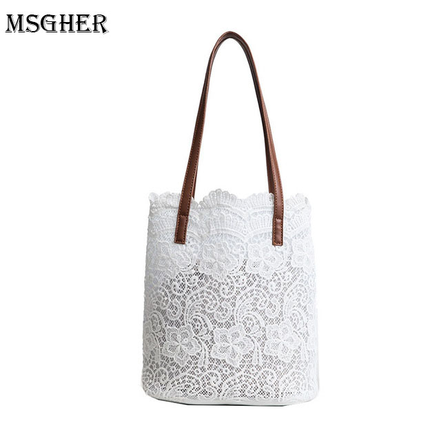 M.S White Lace Beach Bags Women Summer 2PCS Shoulder Bag Casual Big Capacity Hollow Out Handbags Womens Black Flower Bags WB498 trendy off the shoulder lace spliced hollow out blouse for women